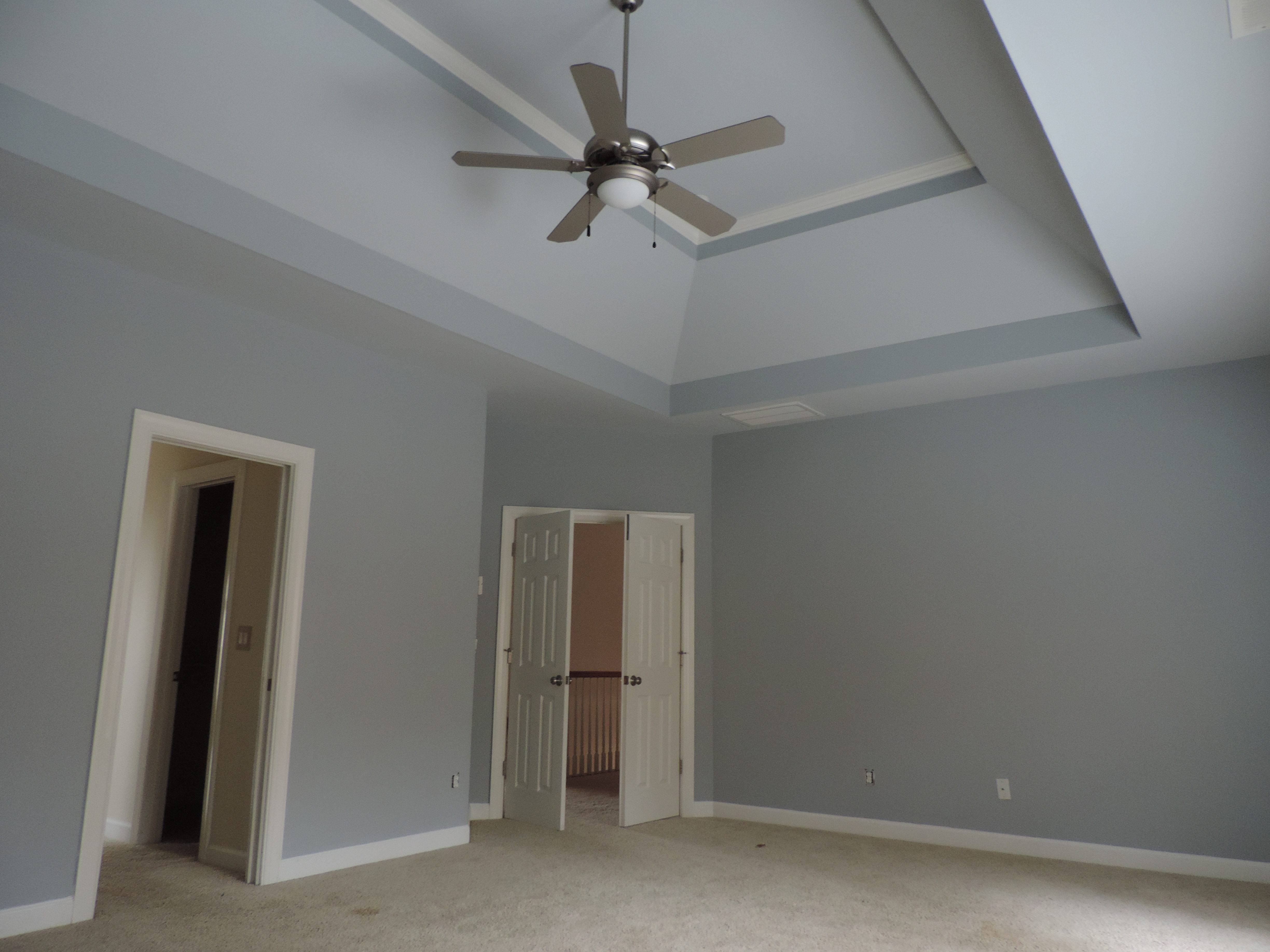 """Master Bedroom with Two-Toned Ceiling of Sherwin-Williams """"Repose Gray"""""""